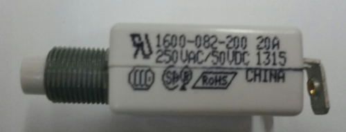 """mechanical products, 20 amp, push to reset, circuit breaker, 7/16"""" bushing, screw terminals bent 90 degrees 1600-082-200"""