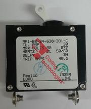 Carling Technologies Circuit breaker, 30 amp, A Series, single pole, magnetic AA1-B0-34-630-3B1-C