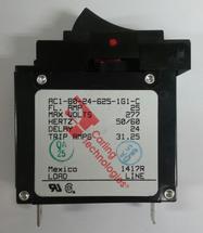 Carling Technologies Circuit breaker, 25 amp, A Series, single pole, magnetic, rocker, AC1-B0-24-625-1G1-C
