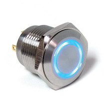E Switch Anti Vandal 16 mm push button, single pole, momentary, blue ring, solder, stainless steel finish