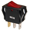 appliance style rocker switch, illuminated, lit, 12 volt, red lit lens, single pole, on off, maintained, quick connects