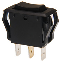appliance size rocker switch, single pole, double momentary, spring return to senter off position, quick connects, black