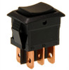 miniature rocker switch, double pole, momentary, spring return to center, quick connects