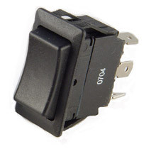 full size rocker switch, momentary, spring return to center, double pole, quick connects