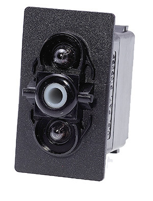 switch, marine, auto, rocker, on-off-on, single pole, sealed, Carling, V Series, two dependent lamps, V6D1D66B