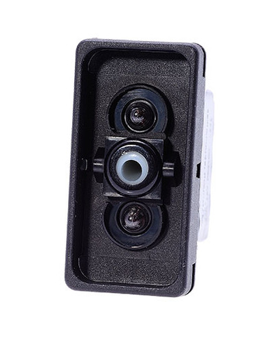 Carling V series rocker switch, double pole, on -off- on maintained, 2 dep. lamps, raised bracket, VJD1D661