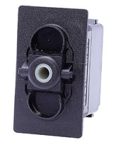 Carling V series rocker switch, double pole, on -off- on maintained, no. lamps, VJD1S00B