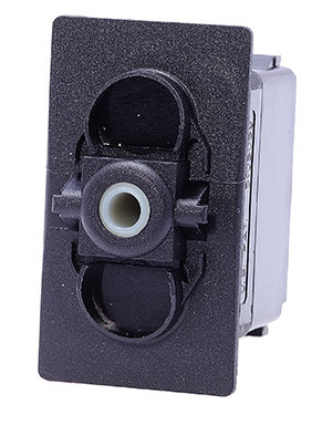 Carling rocker switch, double pole, one momentary on position, one maintained on position, V Series, no lamps, VKBDS00B