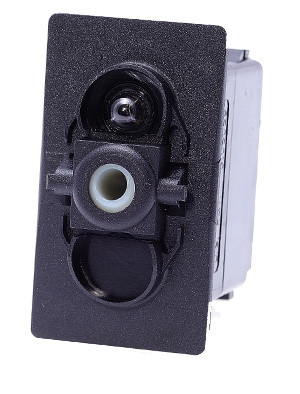 Carling rocker switch, double pole, double momentary, spring return to off position, V Series, 1 ind lamp, VLD1160B