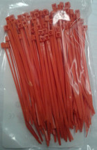 Self Locking Nylon Miniature Cable Ties. Orange.