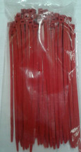 Standard Nylon Self Locking Cable Tie. Red.