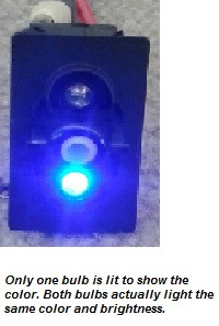 Rocker switch, Carling, V Series, 2 blue LEDs, on off, single pole, quick connects, V1D1GXXB