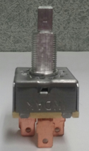 4K754A. fan speed control switch. rotary switch. blower switch. 4 position. 3 speed. 1 inch square metal case. Indak.