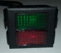 indicator light, 125 volt, neon, rectangular, dual lens, red and green, wire leads, Solico, 2650-1-50-45341