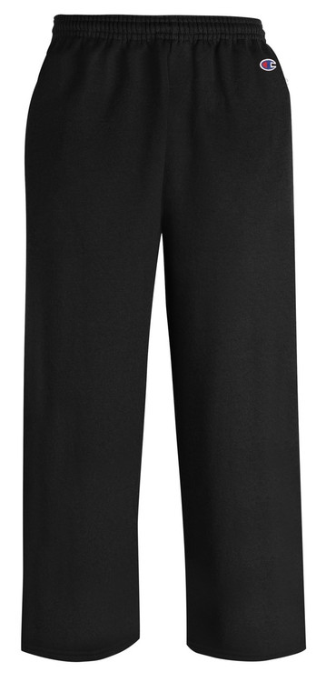 Black Front Champion P890 Youth Powerblend Eco Fleece Open Bottom Pant With Pockets | Athleticwear.ca