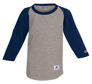 Oxford Gray/Navy Front T13Y Youth Raglan Baseball Tee
