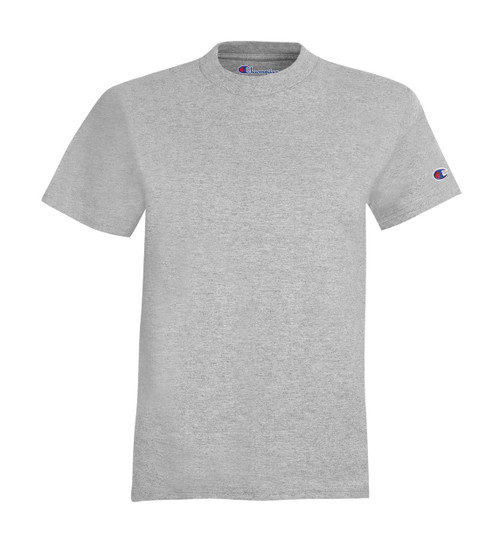 Light Steel Front Champion T435 Youth Short Sleeve Cotton Tee | Athleticwear.ca