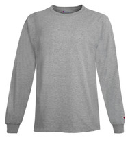 Light Steel Front Champion CC8C Long Sleeve Cotton Tee | Athleticwear.ca