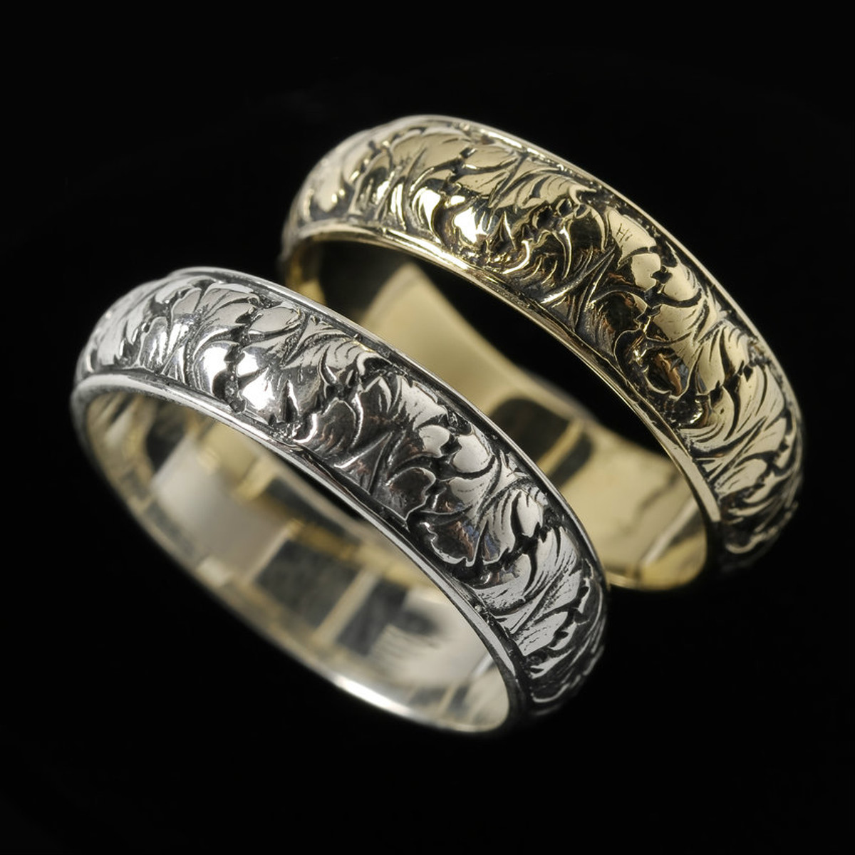 fig leaf wedding ring bands in silver and gold handmade by bowman originals sarasota - Leaf Wedding Ring