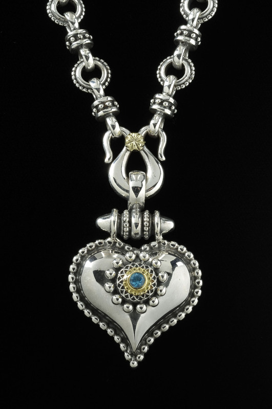 Heart Necklace. Handmade Silver, Gold by Bowman Originals.