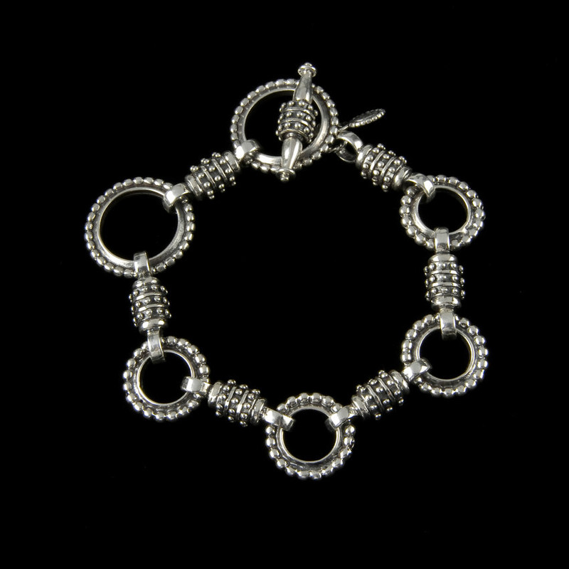 Zeus Bracelet links in Sterling Silver with toggle clasp by Bowman Originals, USA