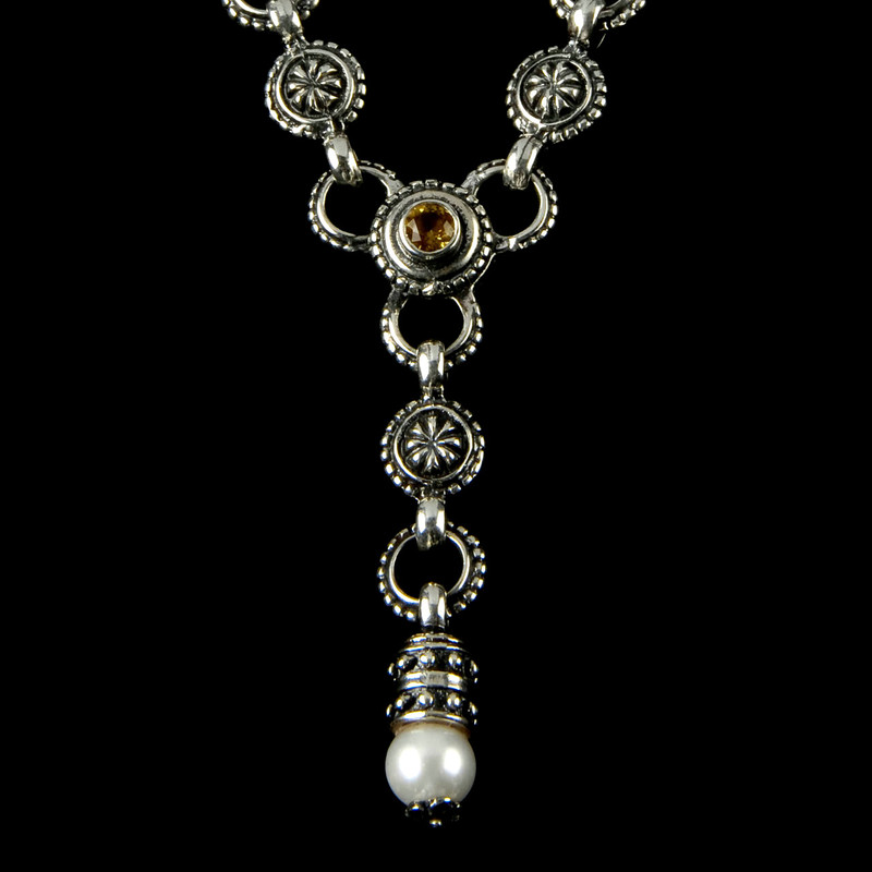 """""""Y"""" Necklace details with Citrine and Pearl in a Silver link necklace by Bowman Originals, Sarasota, 941-302-9594"""