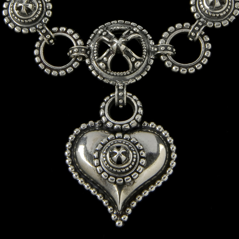 """Chili"" Heart Necklace details in Sterling Silver by Bowman Originals, USA"