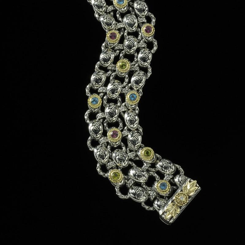 Laurel Leaf Bracelet in Sterling Silver, 18 k Gold, Enamel, Gemstones by Bowman Originals, USA.