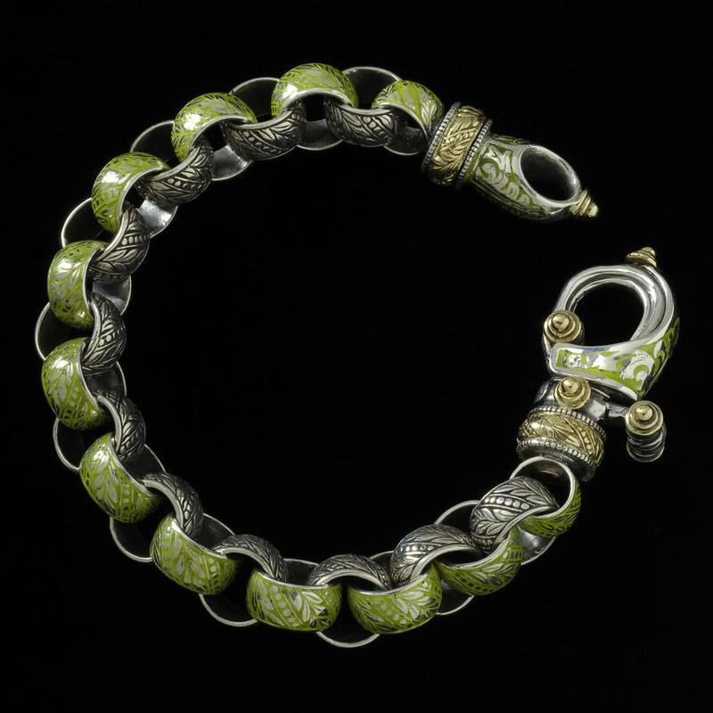 """Laurel Leaf """"Hook"""" Bracelet custom handmade in Silver, Gold and Enamel by Bowman Originals, USA."""