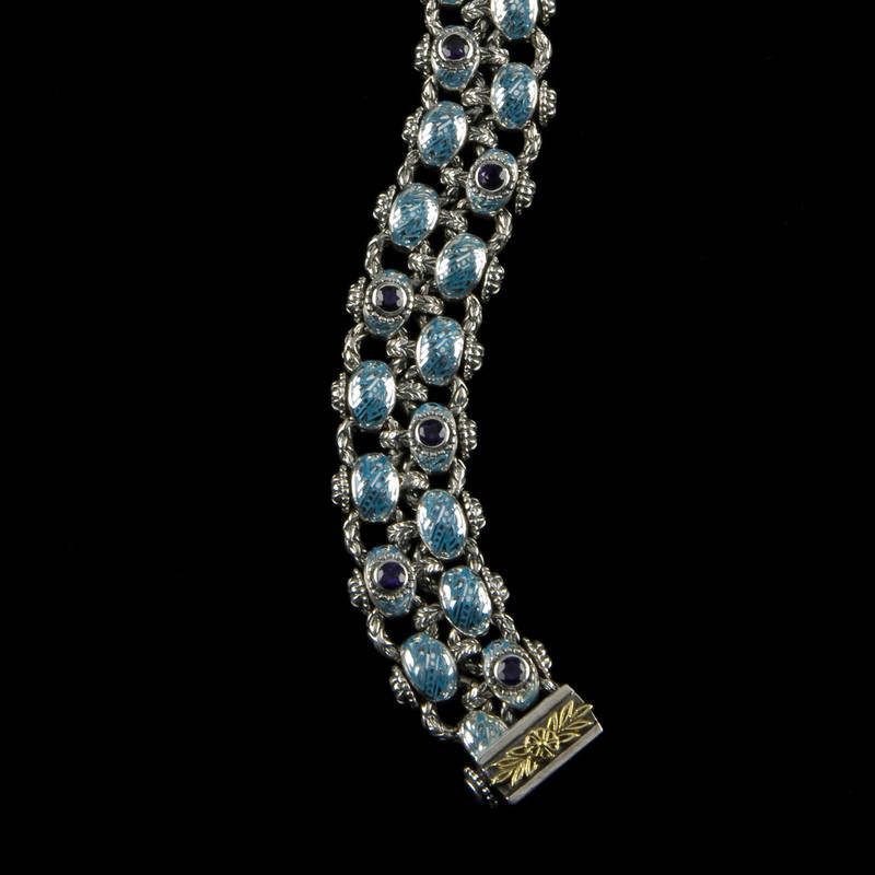Laurel Leaf Bracelet, Two Row version in Silver, Enamel and Blue Topaz by Bowman Originals, USA.