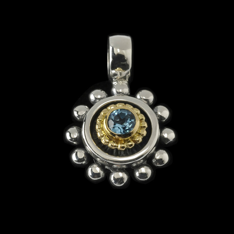 Gemstone Beaded Pendant in Blue Topaz, Sterling Silver and 18 k Gold by Bowman Originals, USA.