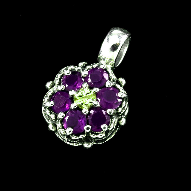 Wildflower Cluster Pendant, Amethyst, Sterling Silver, 18k Gold by Bowman Originals, USA