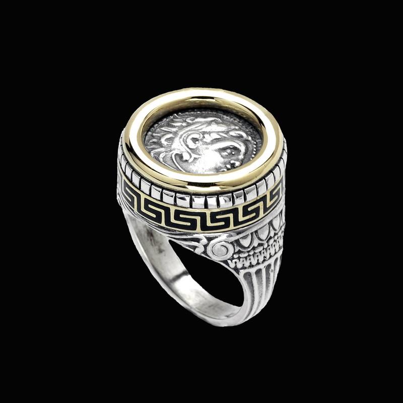 Alexander the Great Ring, Sterling Silver, 18 k Gold, Enamel by Bowman Originals, Sarasota, 941-302-9594