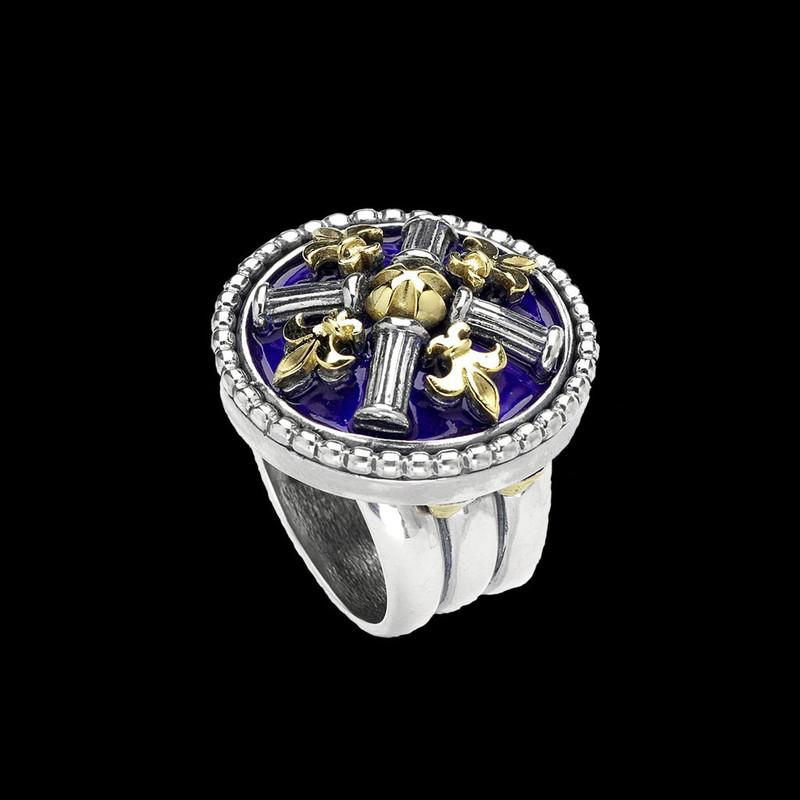 Fleur de lis Ring. Silver, Gold by Bowman Originals. USA