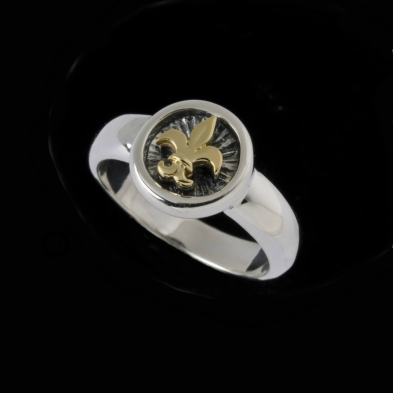 Fine small Sterling Silver and 18 k Gold ring featuring a Fleur de lis handmade by Bowman Originals, Sarasota, 941-302-9594