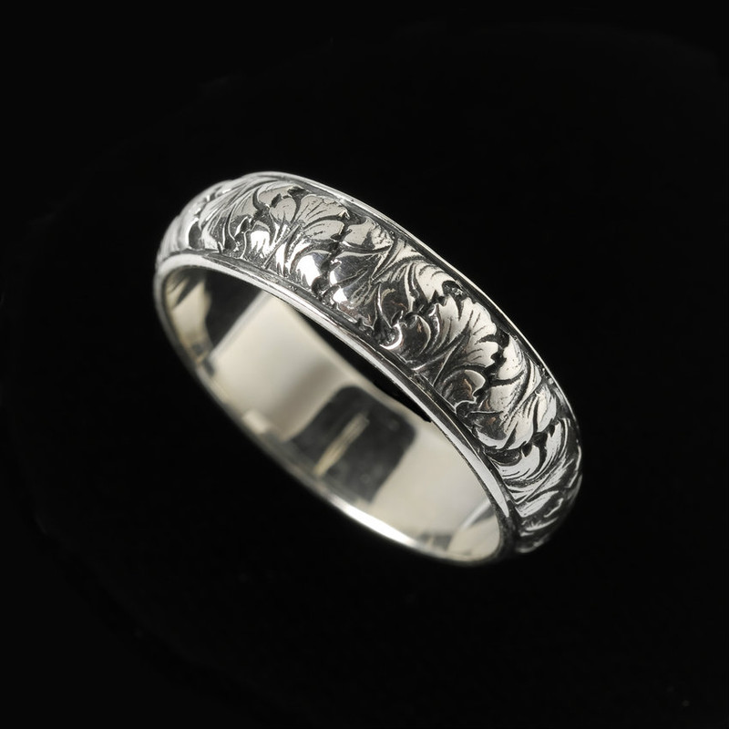 fig leaf wedding ring band silver - Leaf Wedding Ring