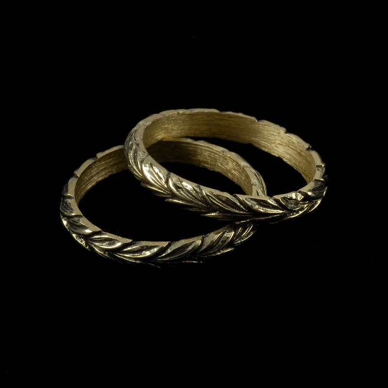 Leaf Wedding Ring Bands hand engraved with antique finish by Bowman Originals, USA