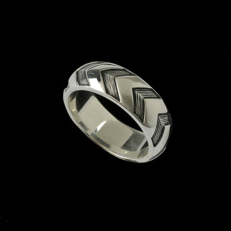 Chevron Wedding Ring Band unique custom engraved by Bowman Originals, USA