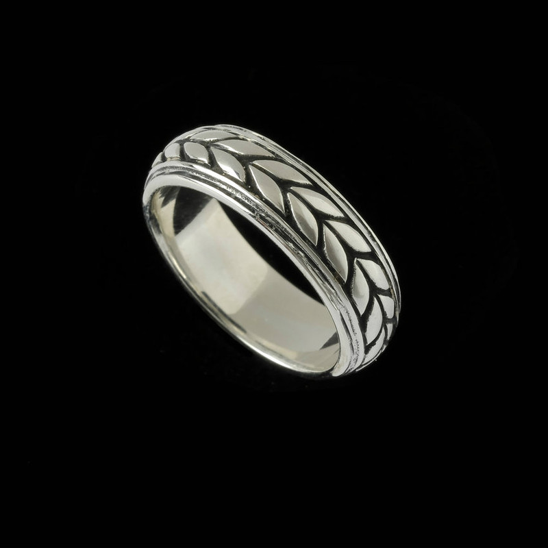 Handmade Sterling Silver Leaf Wedding Ring Band ;engraved by Bowman Originals.