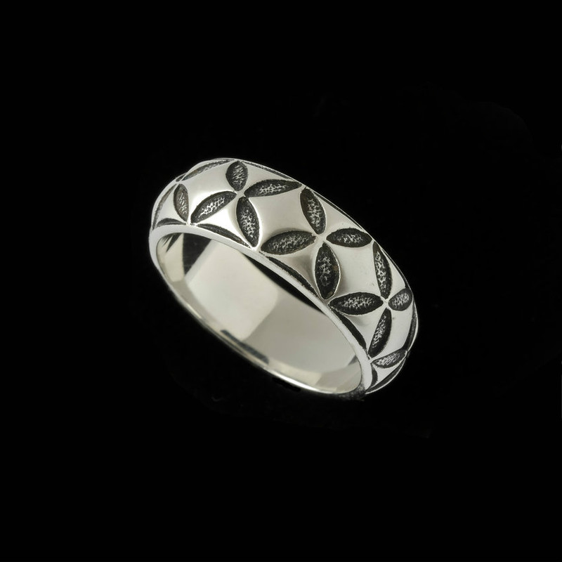 Mosaic Wedding Ring Band engraved in Sterling Silver by Bowman Originals, USA.