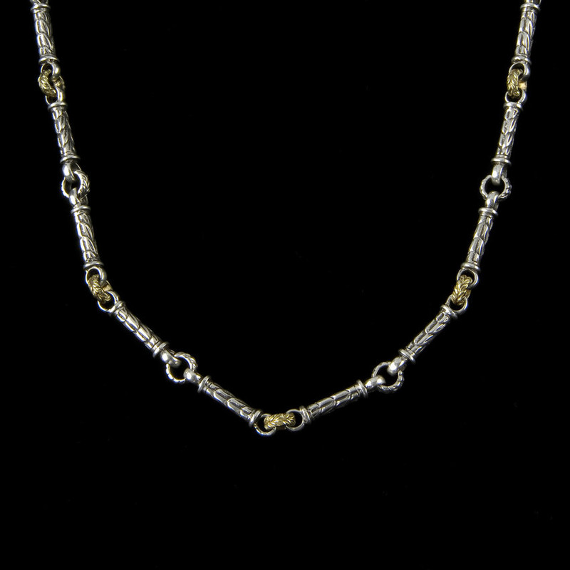 Engraved custom Harvest link chain necklace handmade in sterling silver by Bowman Originals, USA.