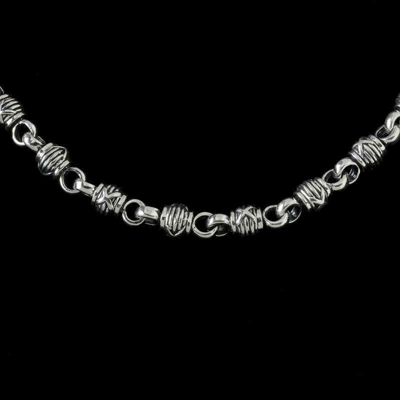 Harvest Ball Chain engraved handmade sterling silver links by Bowman Originals, Sarasota, 941-302-9594