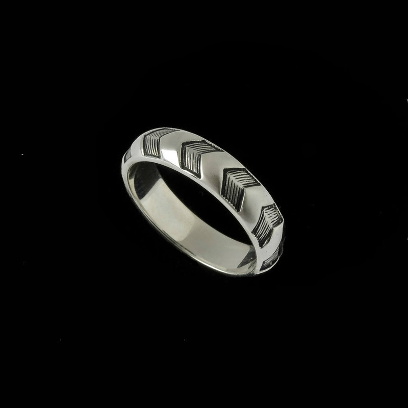Sterling Silver engraved chevron design wedding band by Ned Bowman of Bowman Originals Jewelry, Sarasota, Florida.