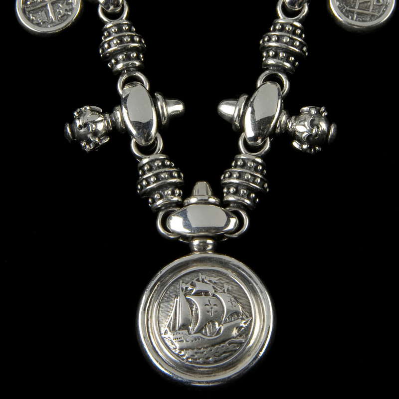 Galleon Necklace, silver pendant, Bowman Originals Jewelry.