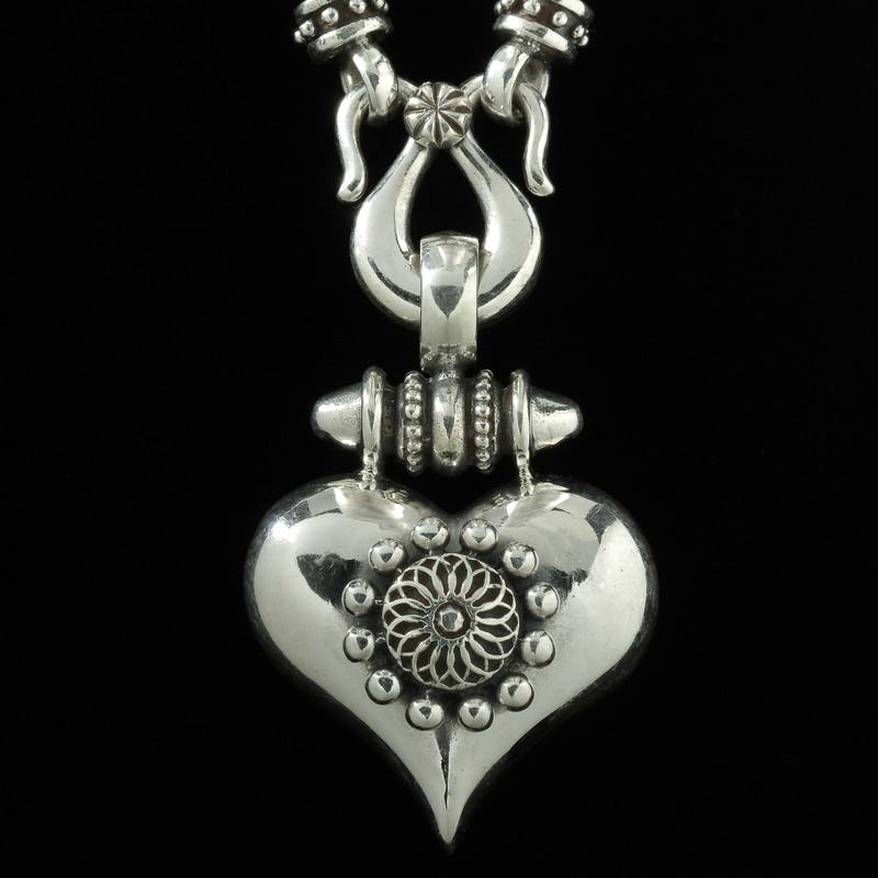 Heart Necklace Pendant, silver by Bowman Originals Jewelry.