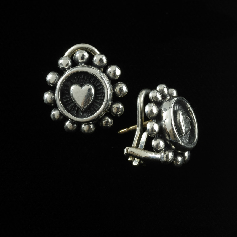 Heart Earrings, silver, handmade by Bowman Originals, USA