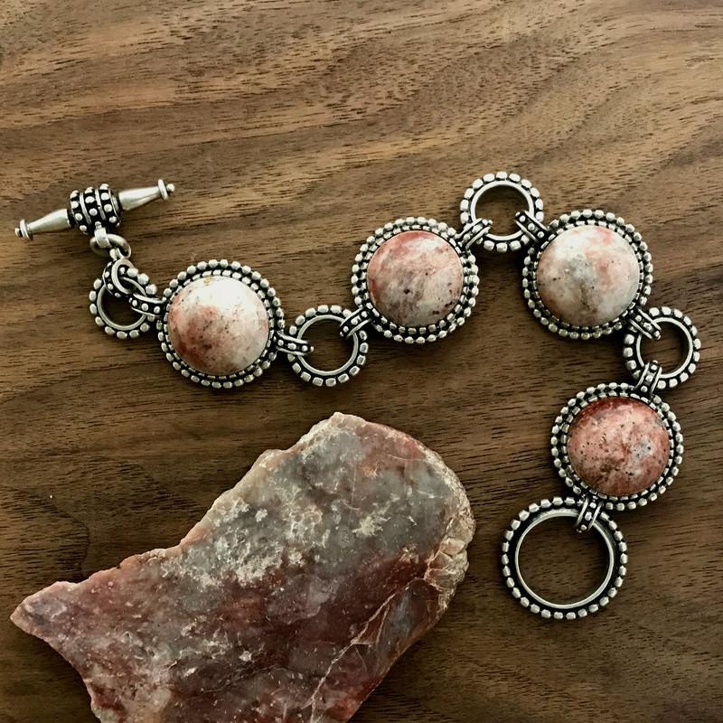 Strawberry Agate Sterling Silver bracelet | Bowman Originals