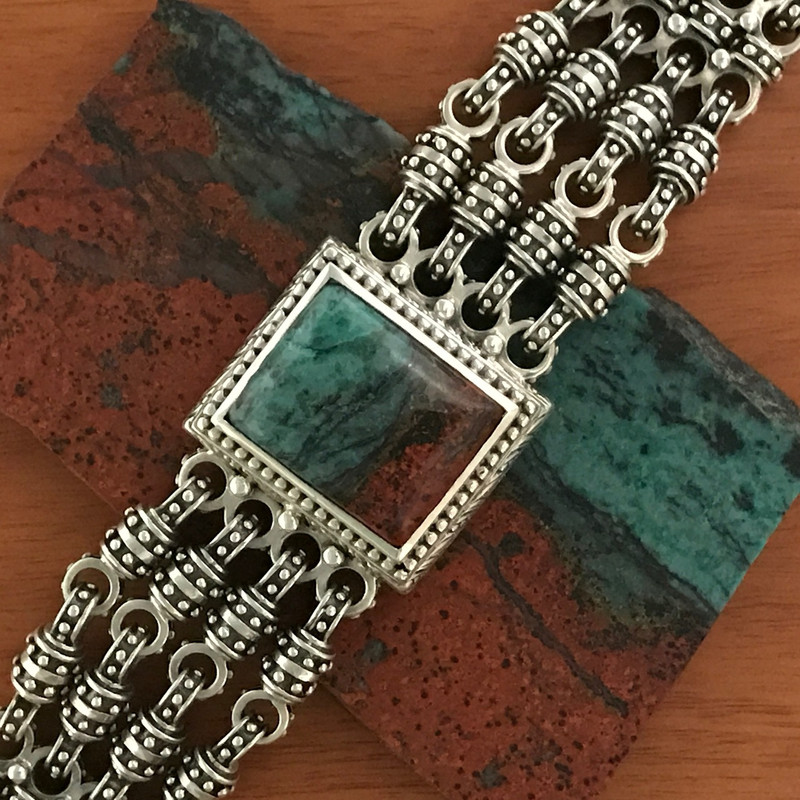Chainmail Bracelet, Silver, Sonora Chrysocolla, Multi color