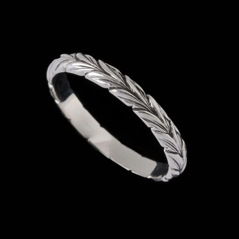Narrow Leaf Wedding Ring Band custom handmade engraved by Bowman Originals