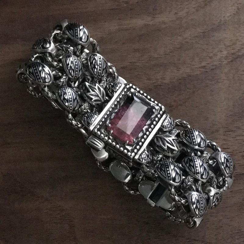 Sterling Silver, Enamel, and Bi-Color Tourmaline three row bracelet by Bowman Originals.